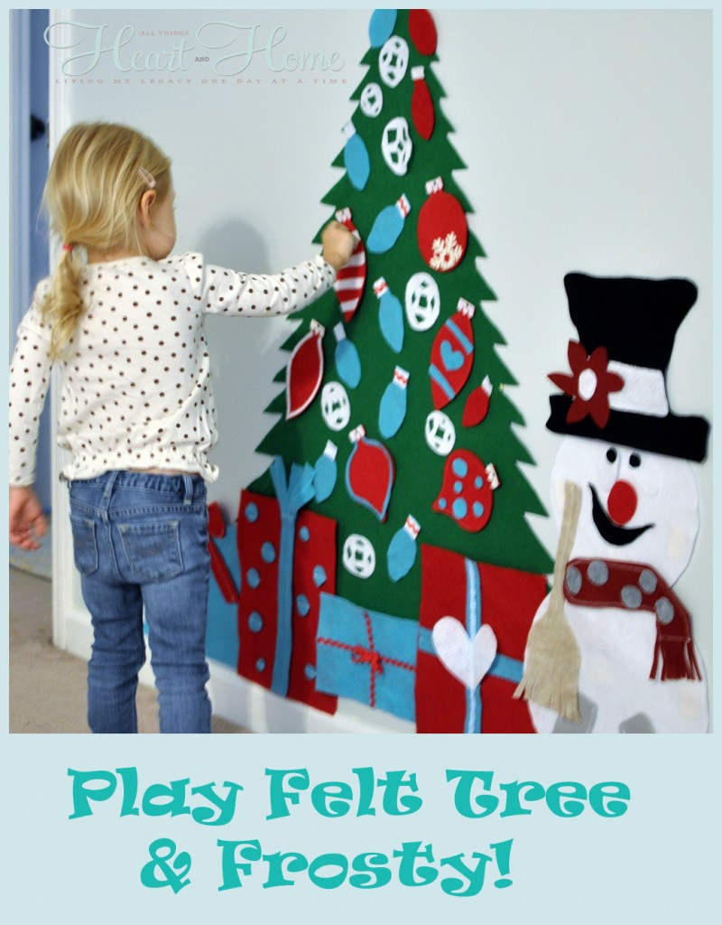 Play felt christmas tree frosty all things heart and home for Christmas decorations to make at home with the kids