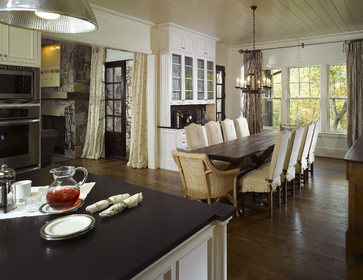 Farmhouse table light dilemma all things heart and home heres another kitchen that has brushed nickle pendants in the kitchen but this one has a black chandelier over the farm tablehouzz aloadofball Images