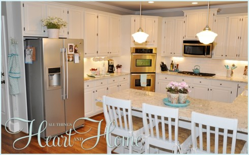 adding color to a white kitchen - all things heart and home