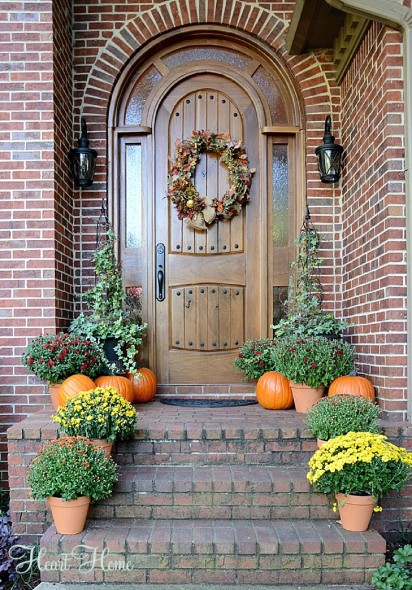 pumpkins for fall front door decor