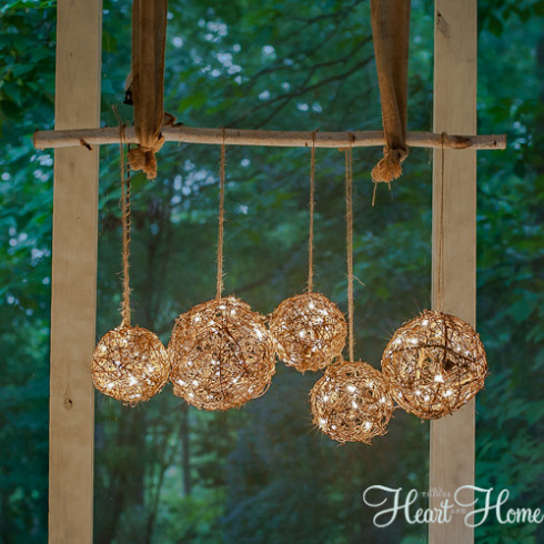 Diy Chandelier String Lights : Easy DIY Outdoor Chandelier - All Things Heart and Home