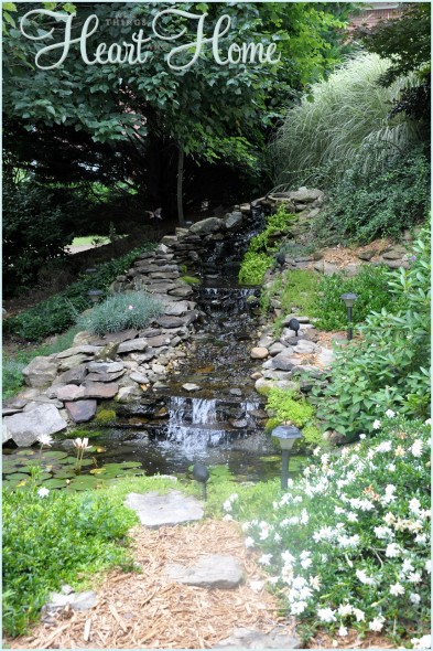 Diy backyard waterfall pond all things heart and home for Garden waterfalls do it yourself