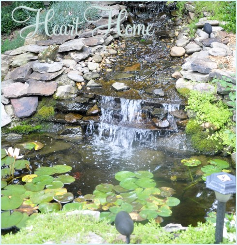 Diy backyard waterfall pond all things heart and home for Diy ponds and waterfalls