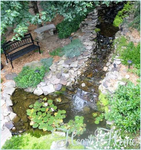 Diy backyard waterfall pond all things heart and home for Making a garden pond and waterfall