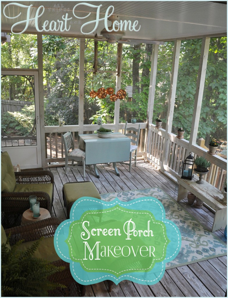 screen porch makeover all things heart and home. Black Bedroom Furniture Sets. Home Design Ideas