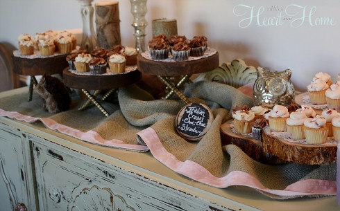 diy rustic cupcake stand woodland theme baby shower