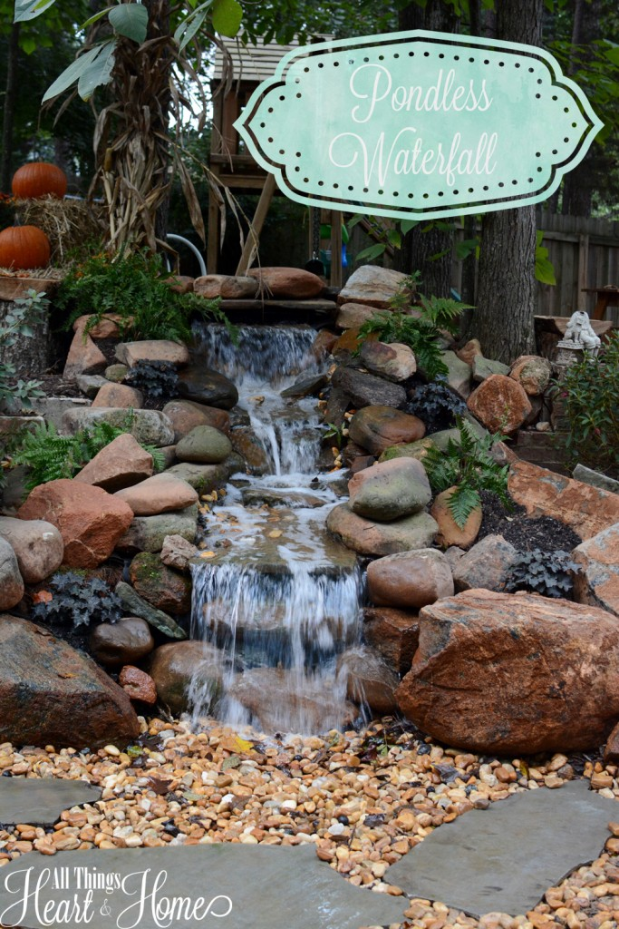 Pondless waterfall all things heart and home for Diy small pond with waterfall