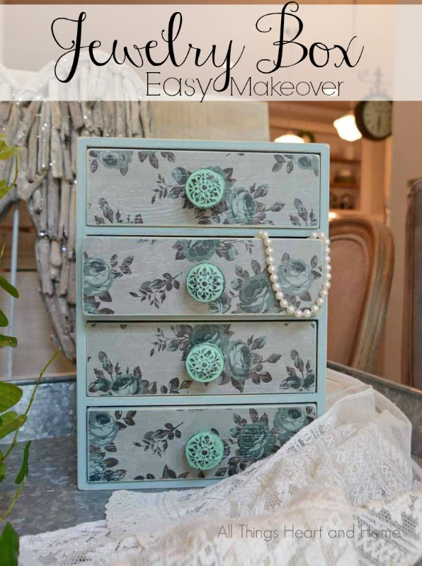 Easy jewelry box makeover all things heart and home for Old jewelry box makeover