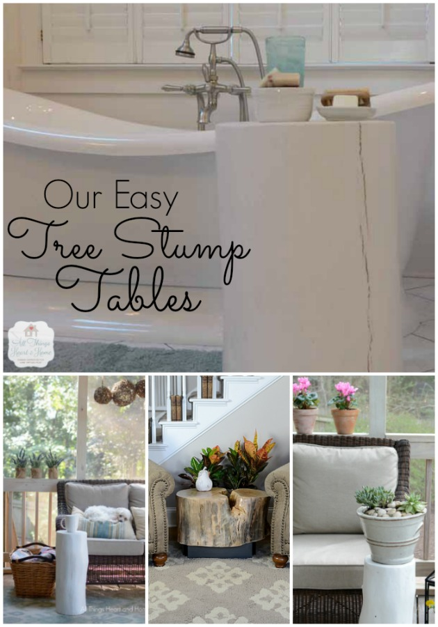 our easy tree stump tables