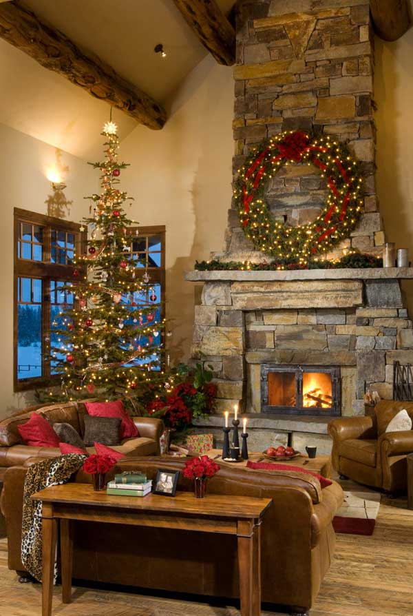 Stone Fireplaces Decorated For Christmas All Things