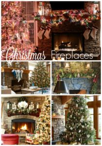 Stone Fireplaces Decorated for Christmas