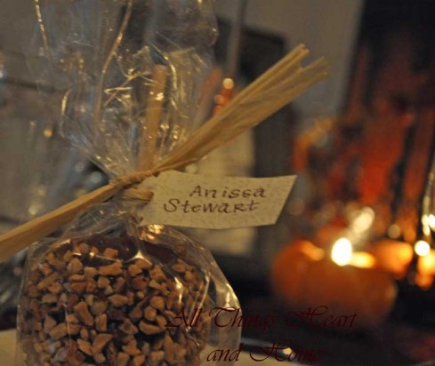 Fall Table with Caramel Apple Favors