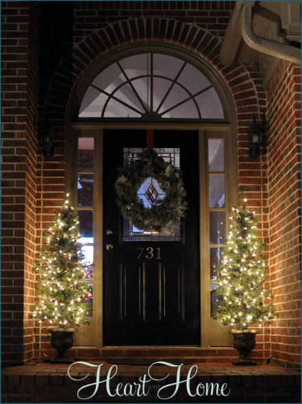 three spotlights - Decorating Front Porch Urns For Christmas
