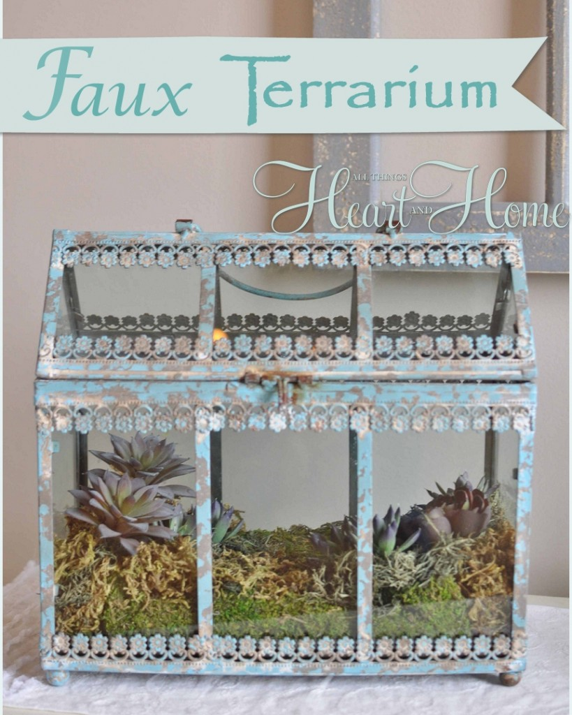Easy Faux Succulent Terrarium All Things Heart And Home