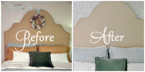 before after stenciled wall