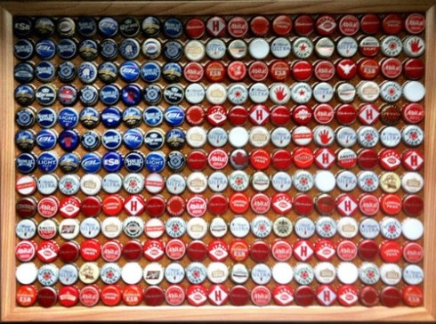 flag bottle cap art