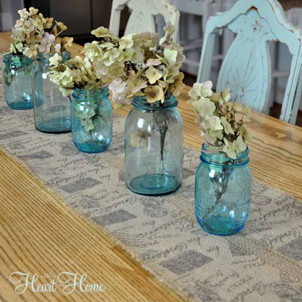 easy burlap table runner all things heart and home. Black Bedroom Furniture Sets. Home Design Ideas
