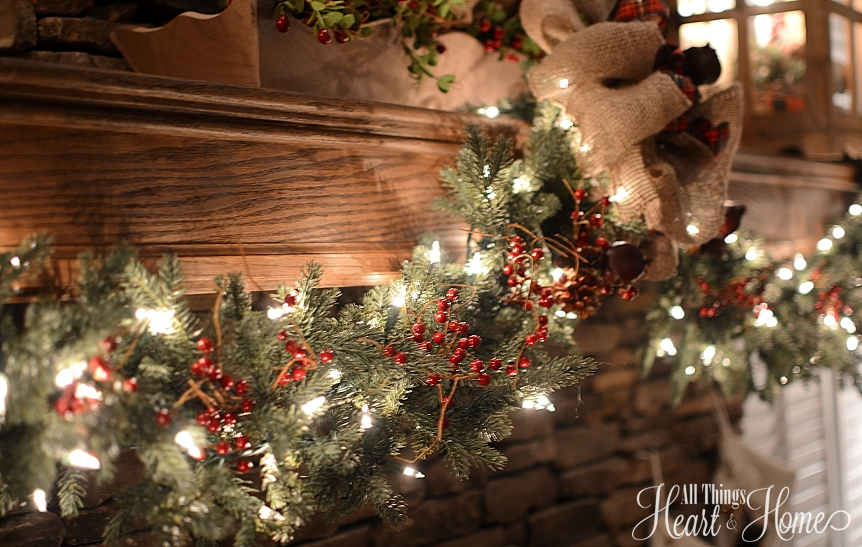 decorating a christmas mantle