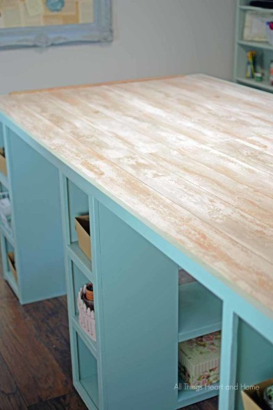 Craft Room Table Pergo Coastal Pine
