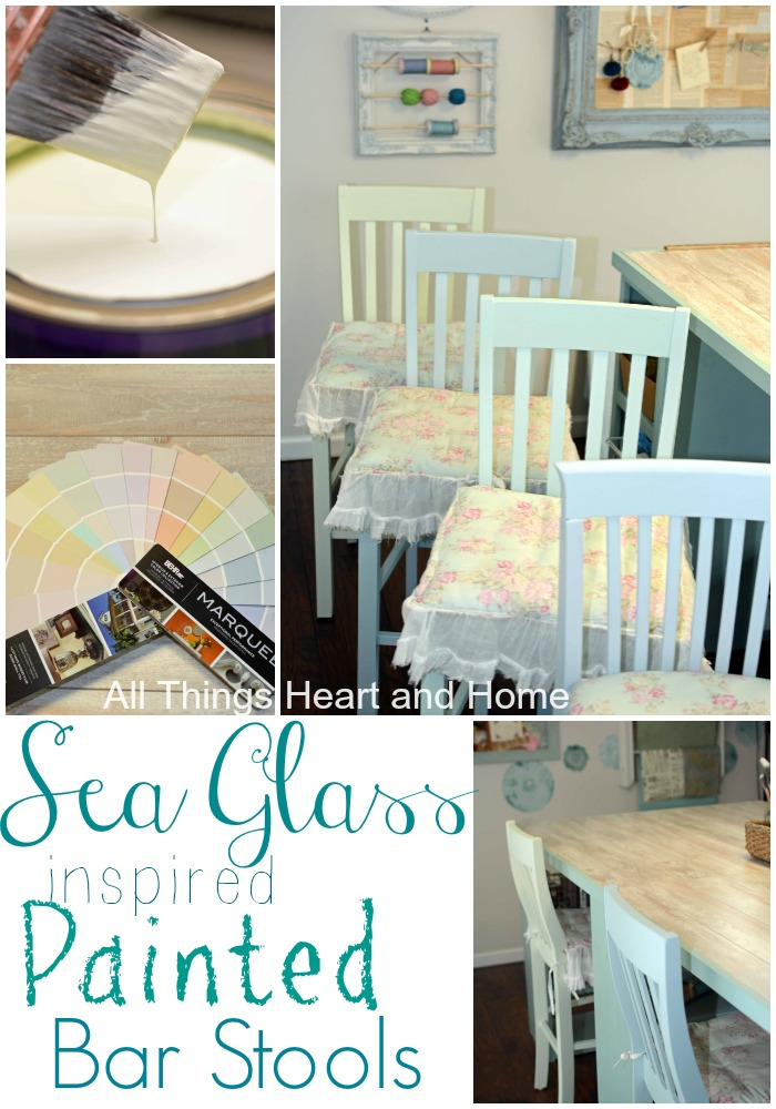 Awe Inspiring Sea Glass Inspired Painted Bar Stools All Things Heart And Dailytribune Chair Design For Home Dailytribuneorg