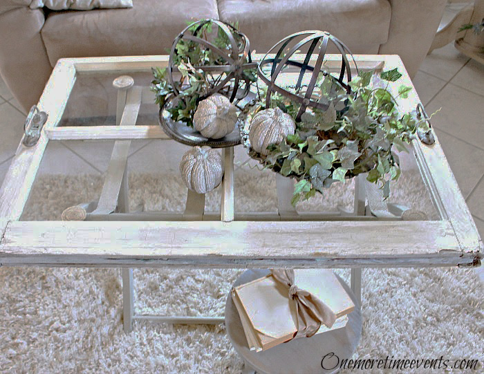 Fall Vignette with metal orbs