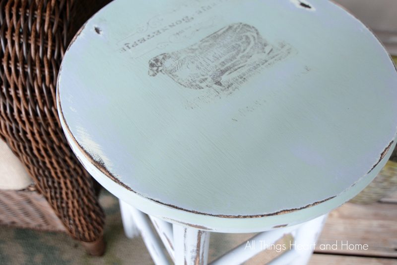 Photo Transfer on Painted Stool