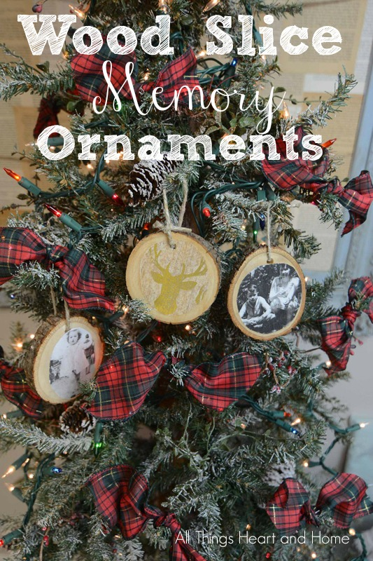 wood slice memory ornaments