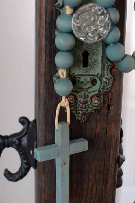 dyed wood bead rosary