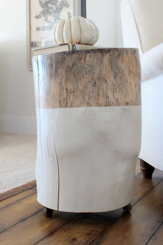 tree stump table with casters