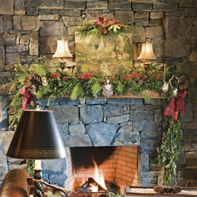 Stone Fireplaces Decorated For